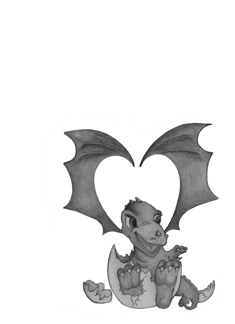 Cute dragon darker by. Drawing hatching ink clipart transparent library