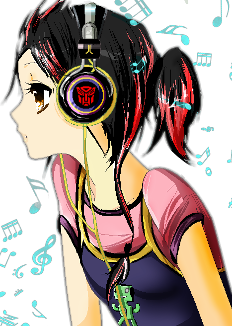 Girl ftestickers report abuse. Drawing headphones anime headphone image royalty free stock