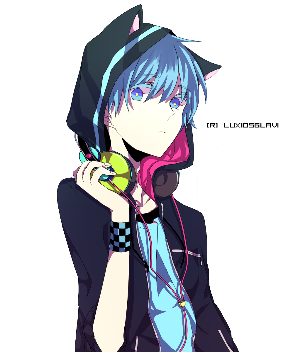 Drawing headphones anime headphone. Boy with cat hood