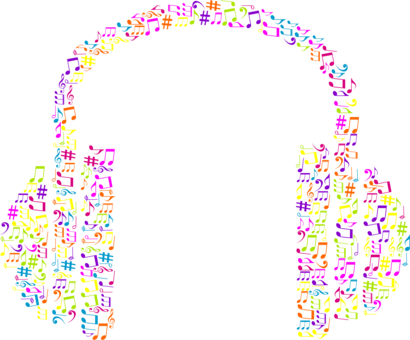 Drawing headphones music note clipart. Musical visual arts free