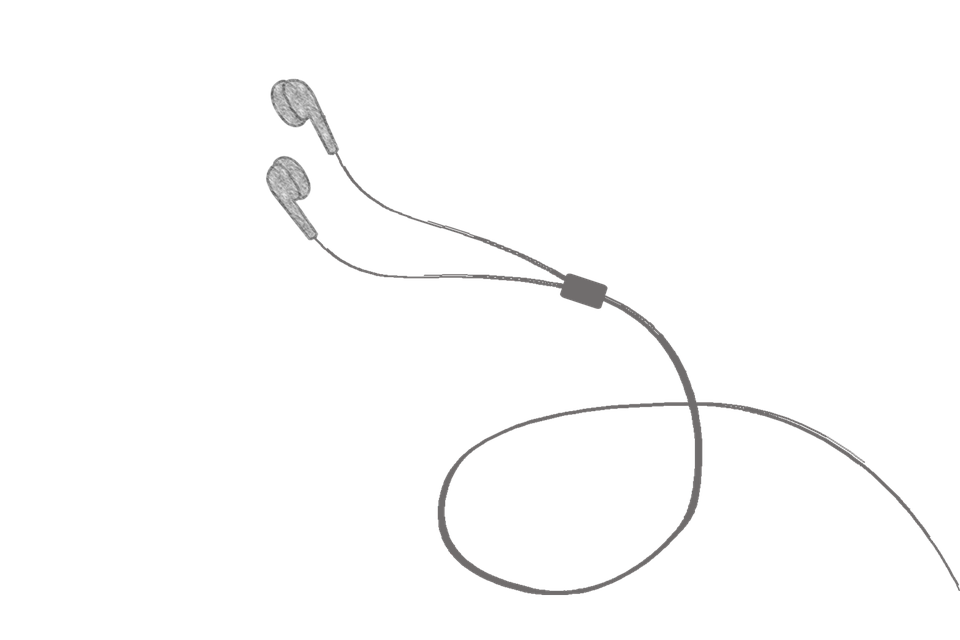 Drawing headphones simple. Collection of iphone