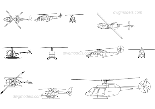 Drawing helicopters helicoptor. Dwg free cad blocks