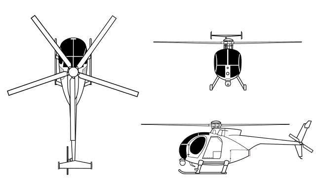 Drawing helicopters little bird. The modelling news in