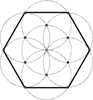 Drawing hexagons compass. With the hexagon pattern