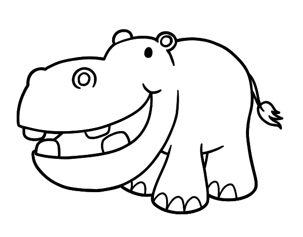 Drawing hippopotamus. Animals printable coloring pages