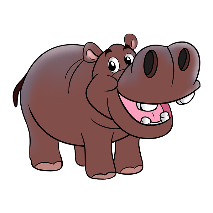 Drawing hippopotamus purple cartoon. How to draw a