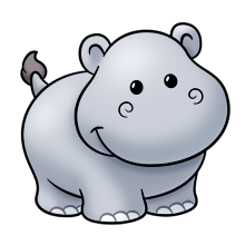 Drawing hippopotamus cute. Change the tail add