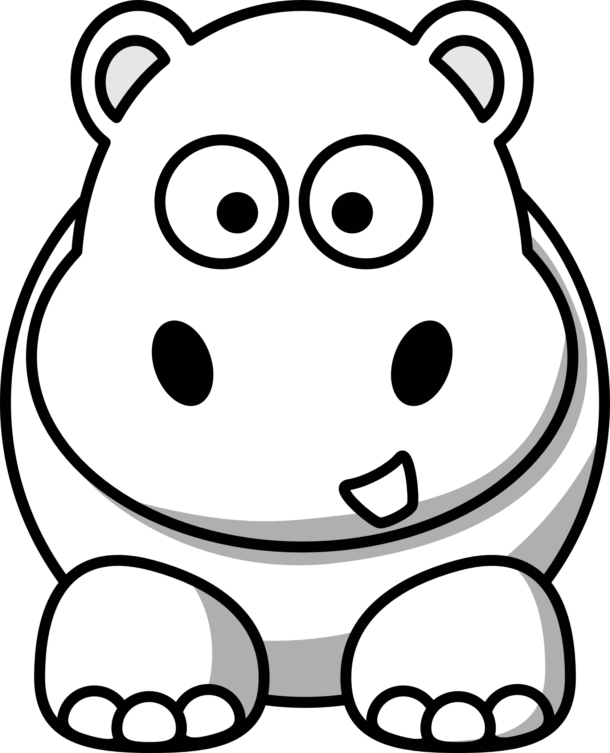 Killer drawing coloring page. Free cute baby hippo