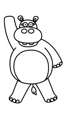Drawing hippopotamus kid. Hippo step by at