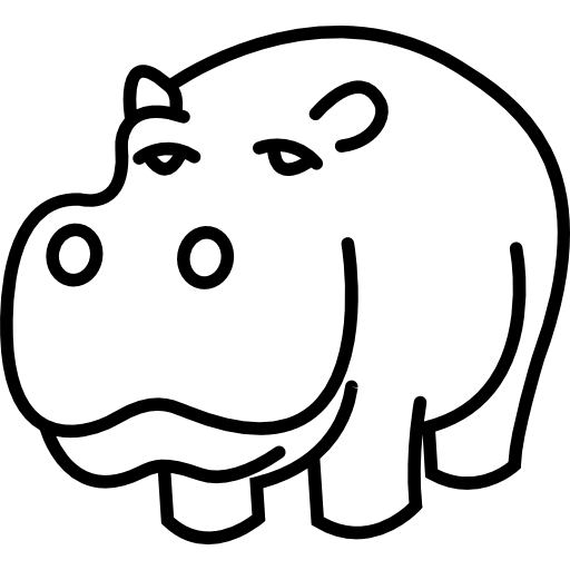 Drawing hippopotamus cool. Outline icons free download