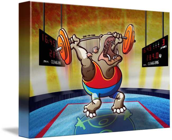 Weightlifter drawing life african. Olympic weightlifting hippopotamus by
