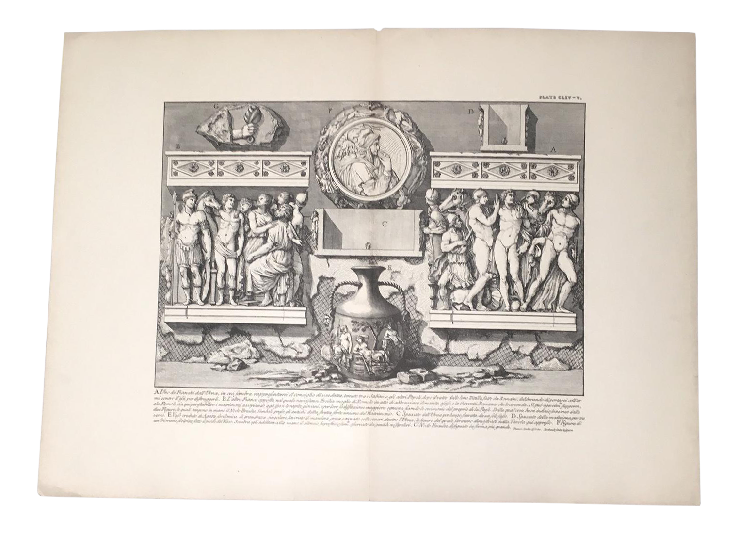 Drawing history piranesi. Antique architectural lithograph after
