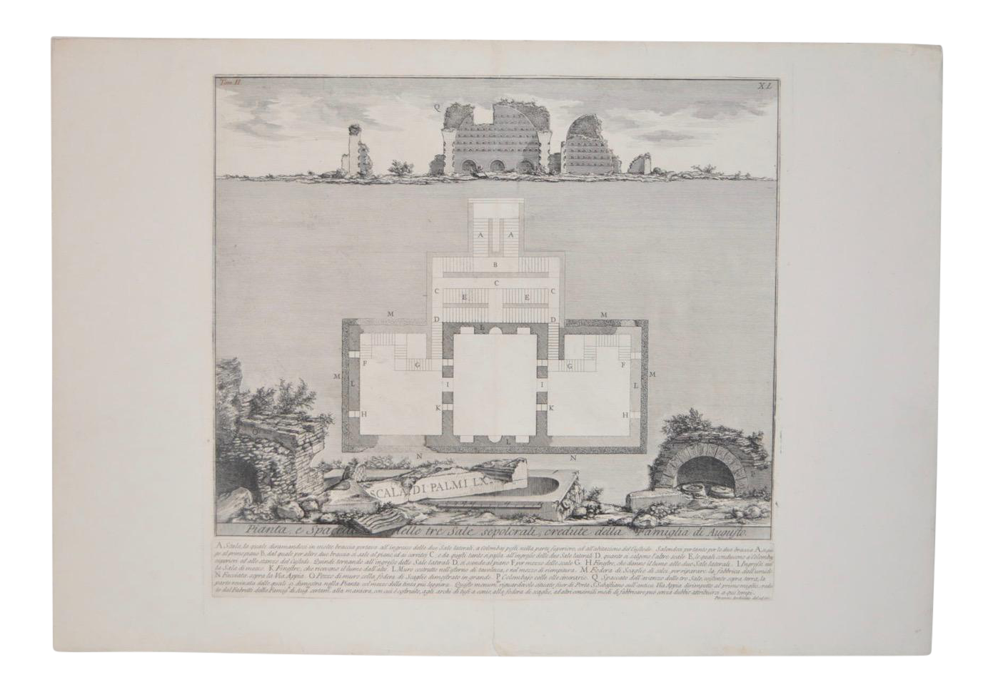 Drawing history piranesi. Augustus family burial rooms