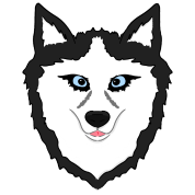 Drawing husky portrait. Dog face with blue