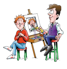 Drawing icebreakers cartoon. Caricaturists sketch artists by