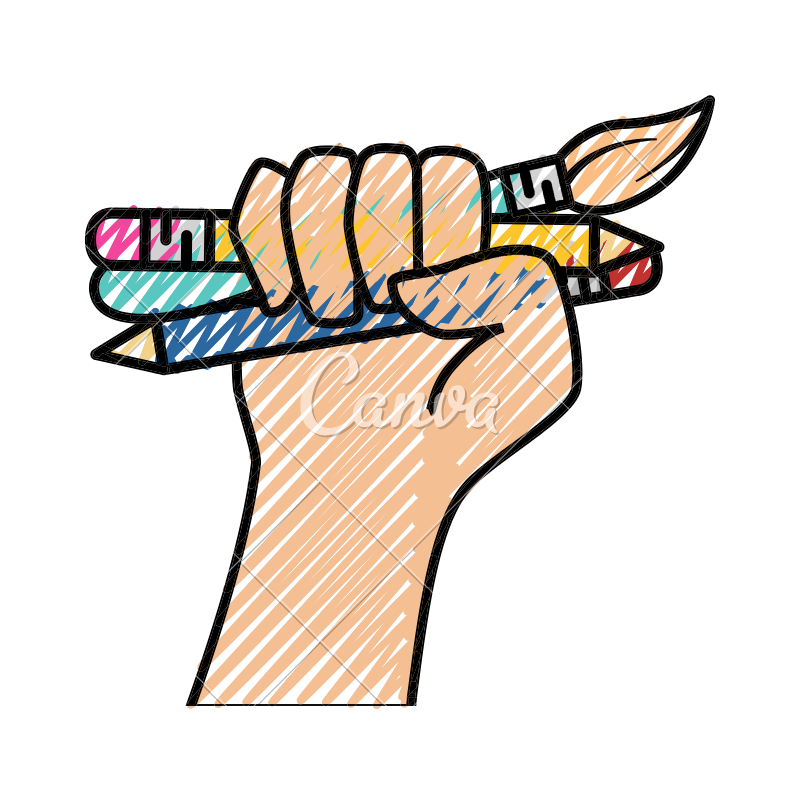 Drawing icons art supply. Hand holding supplies by