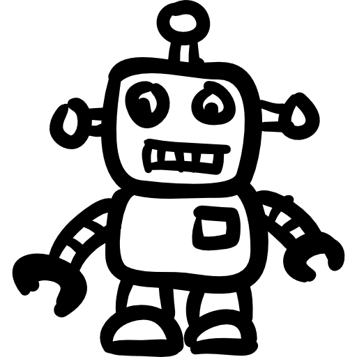 Drawing icons technology. Robot hand drawn toy