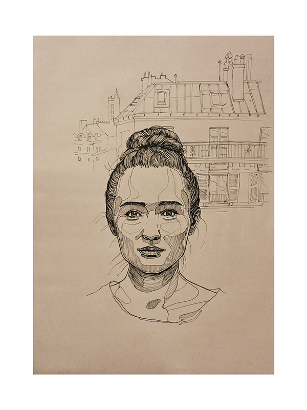 Portraits drawing student. On show the