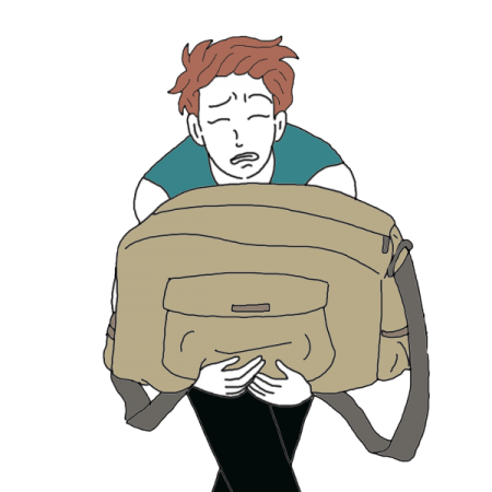 Drawing illustrations emotional baggage. Dreams about a heavy