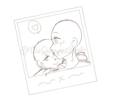 Drawing illustrations polaroid. Love ych closed by