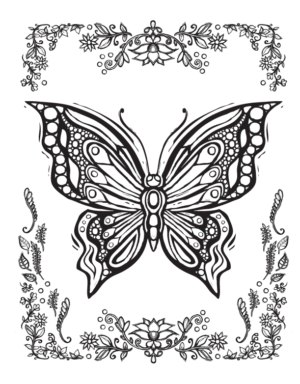 Wing svg coloring page. Sacred nature butterfly papillon