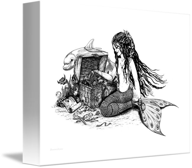 Drawing insect ink. Lilly mermaid and dolphin