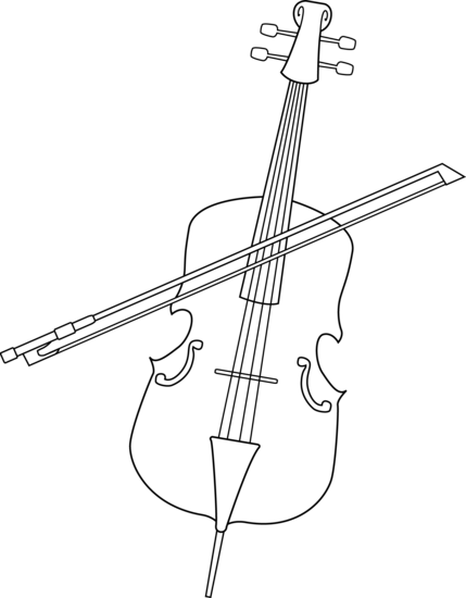 Drawing scrolls violin. Collection of free cello