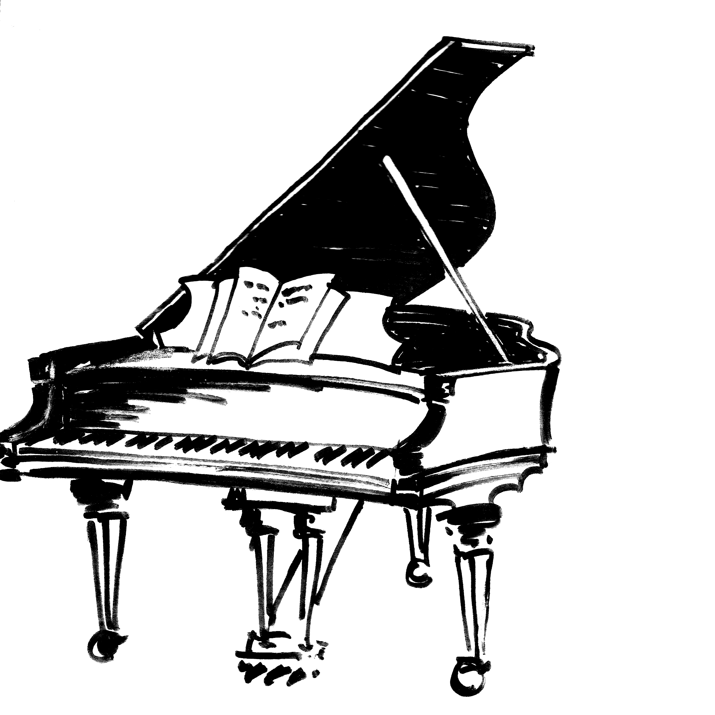 Transparent pianos odd. Keyboard piano drawing at