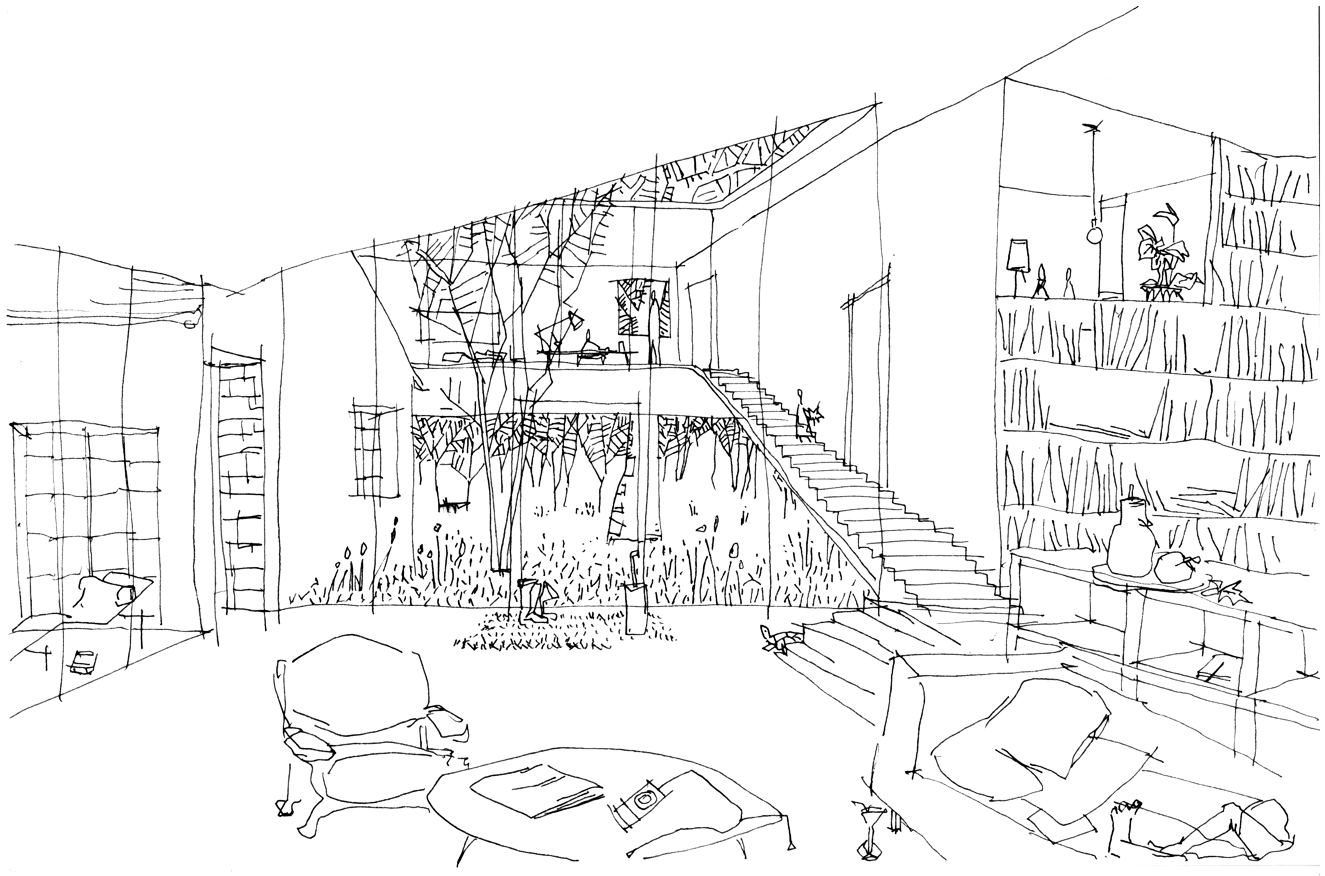 Related simple architectural sketches. Kinetic drawing sketch image freeuse stock