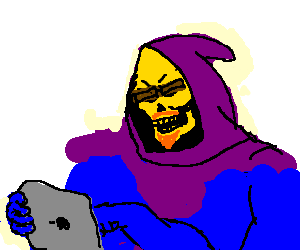 Drawing ipad hipster. Skeletor on his by