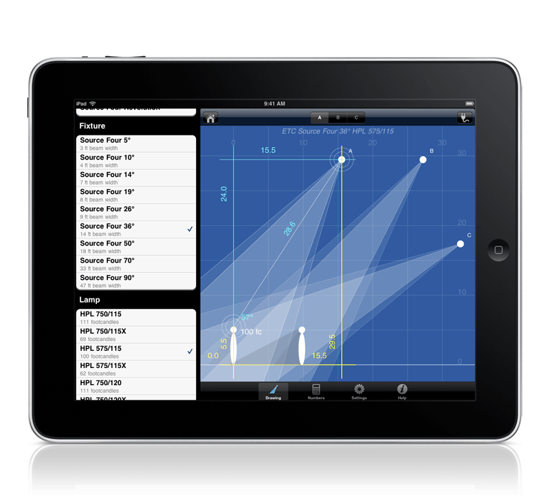 Drawing ipad iphone. Photometric calculator for and