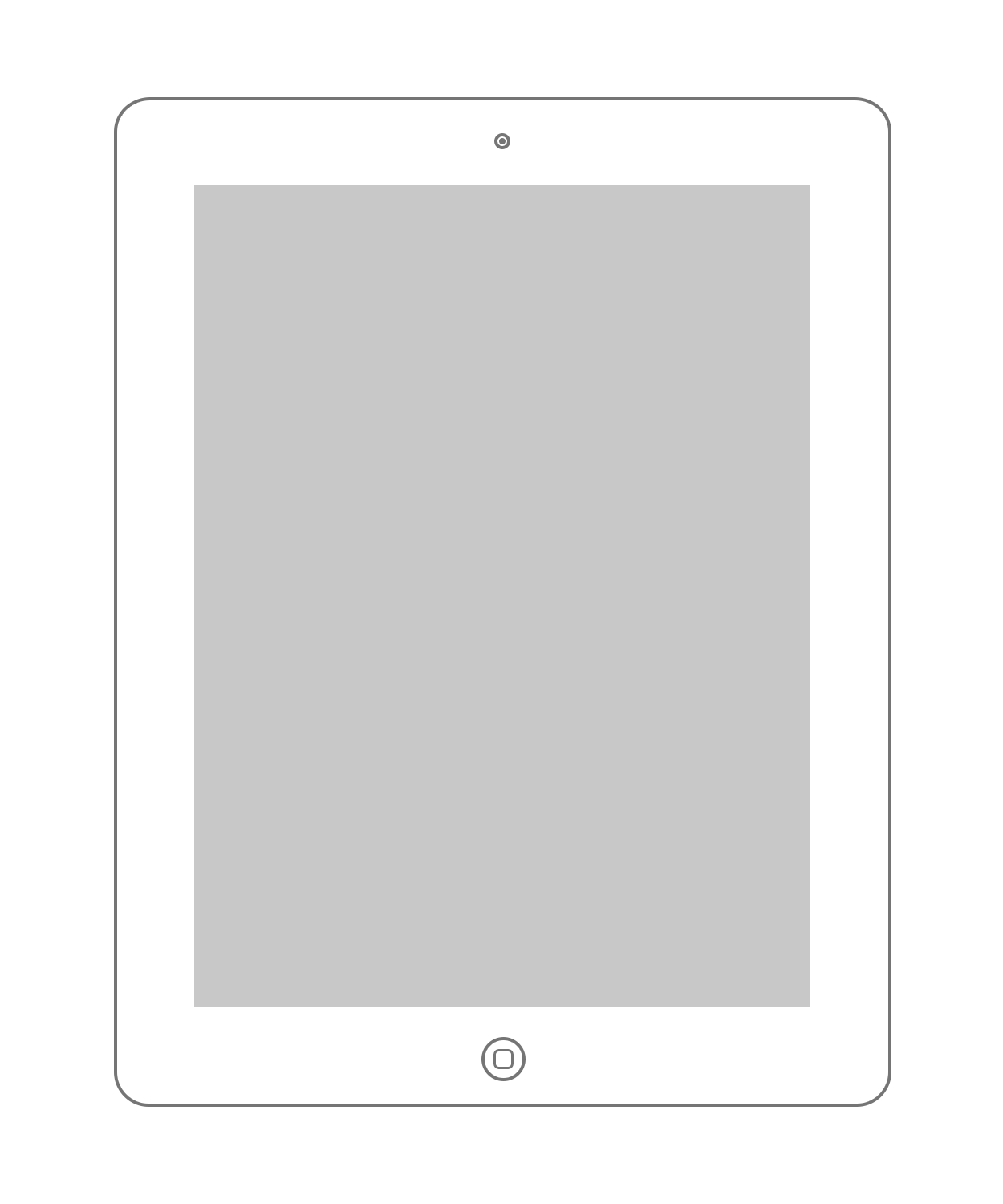 Drawing ipad outline. Apple products minimal wireframe