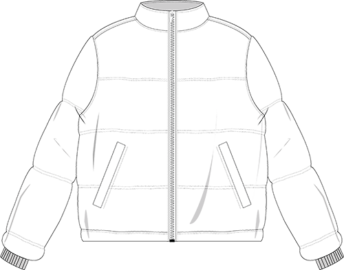 Tec drawing jacket. Collection of puffer