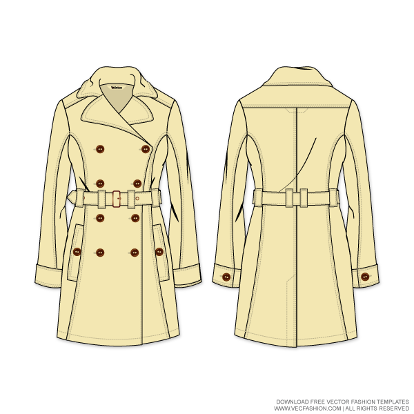 Drawing jackets coat. Womens trench vector template