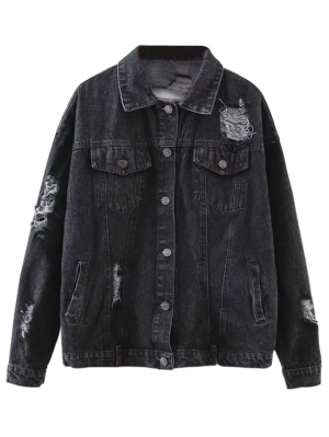 Drawing jackets denim jacket. Graphic distressed black outfits