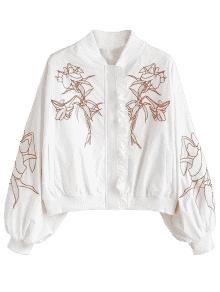 Drawing jackets jacket back. Ruffle floral embroidered drop