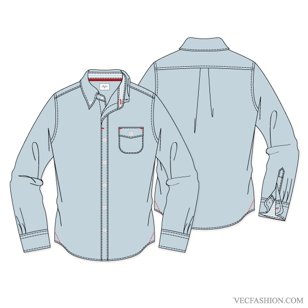 Drawing jackets pencil. Men formal shirt with