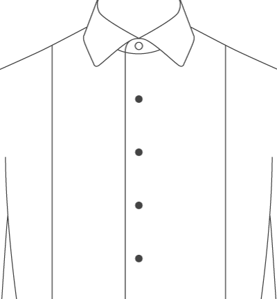Shirts drawing side view. Proper cloth tuxedo front