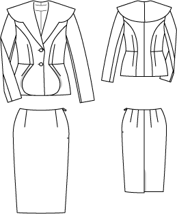 Drawing jackets pencil. Lola dior inspired suit