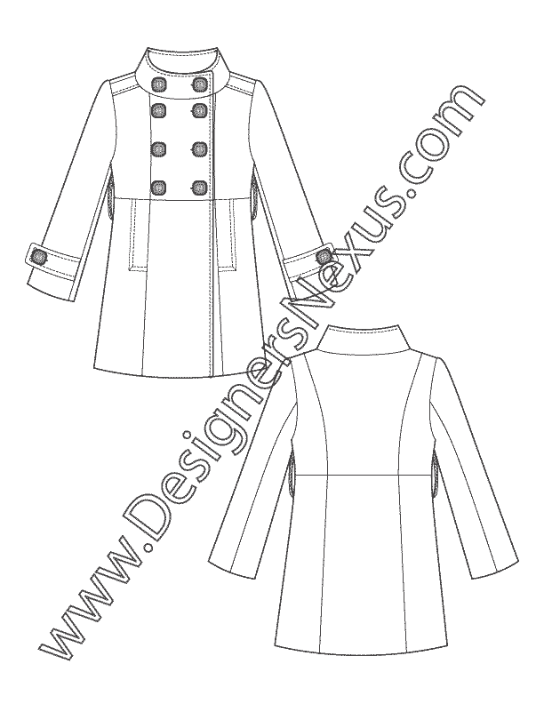 Drawing jackets trench coat. Technical flats v double