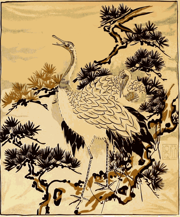 Red crowned crane common. Drawing japanese art royalty free download