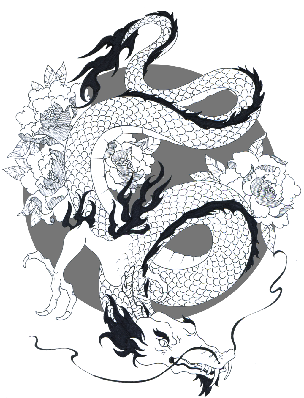 Drawing japan cloud. Japanese dragon drawings by