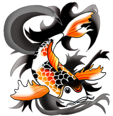 Drawing japan koi fish. Collection of black