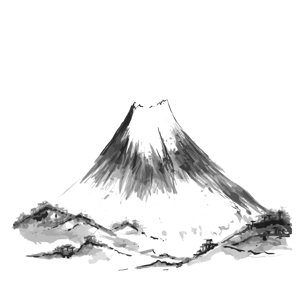 Drawing japan mountains. Mount fuji mountain illustration