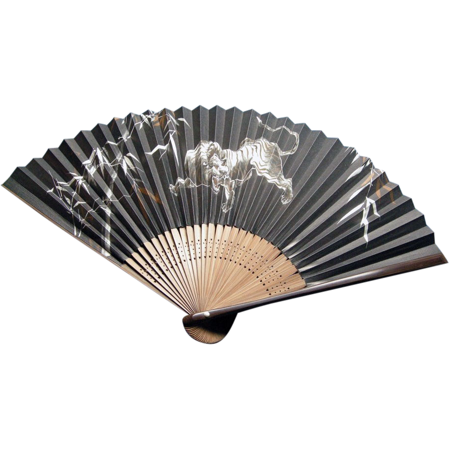 Drawing tigers japanese style. Vintage bamboo fan lacquer