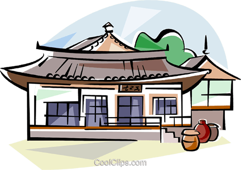 Drawing lipstick traditional. Of korean style house