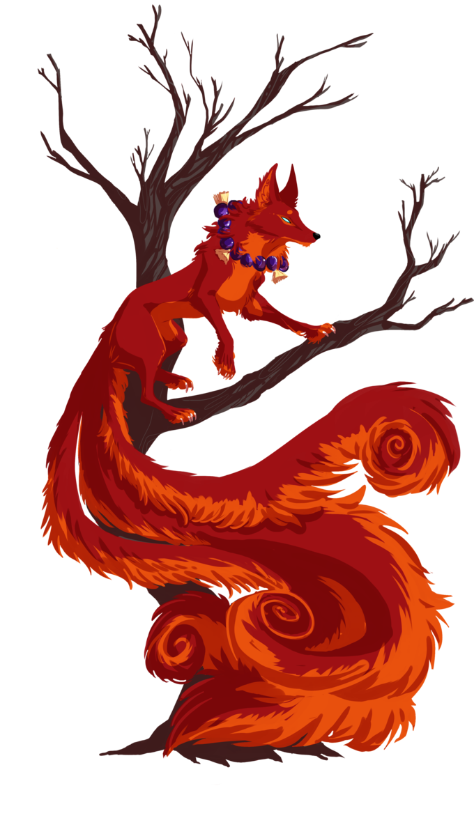 Drawing japanese kitsune. The red by eliaowl