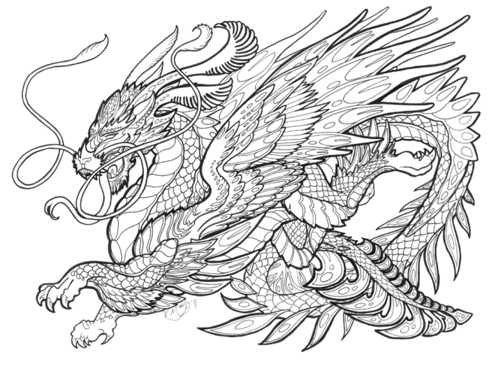 Drawing japanese mythology. Mythical creatures coloring pages