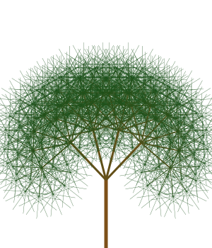 Green drawing tree. Recursively trees with javascript