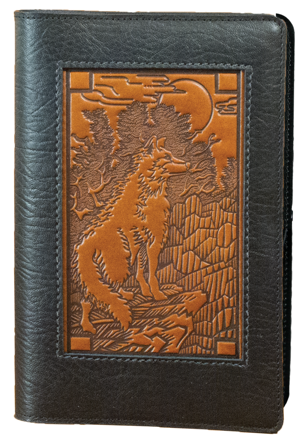 Drawing journals leather. Refillable icon journal wolf